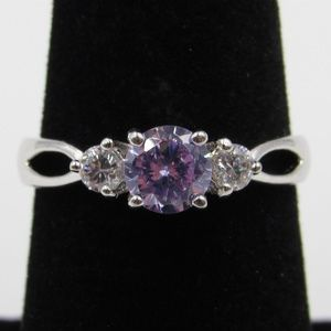 Jewelry - Vintage Size 7.25 Sterling Purple & Clear CZ Ring